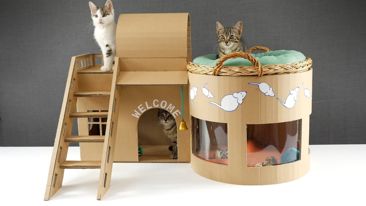 Build an awesome cat house from cardboard